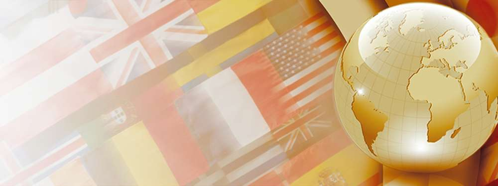 A banner featuring many different flags from around the world with a globe.