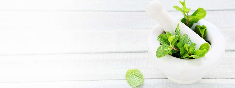 A white pestle and mortar with leafy greens in it sits on a white wooden table.