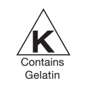 Seal indicating this product has been kosher certified by Triangle K but contain gelatin