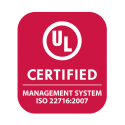 Seal indicating this product has received the UL Enhanced Certification for Cosmetics: Management System ISO 22716:2007